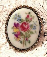 Antique Pansy Sterling Silver Floral Hand Painted Rose Brooch Pin Victorian Vtg