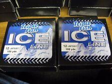 2 Spools Triple Fish Ice Fishing Line / 12 Lb Test / 100 Yds Clear