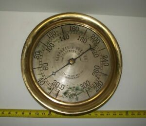 "1880's Star Brass Mfg. Co. HUGE 14"" Steam Pressure Gauge CAMPBELL & ZELL Co."