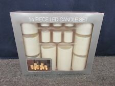 14 PC LED CANDLE SET BATTERY AA PILLAR WHITE VOTIVE DECORATION FLAME-LESS NEW