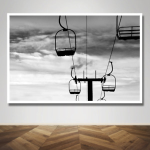 Silhouette Ski Lift Skiing Black and White Photograph Photo Print