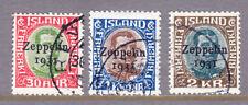 Islandia 1931 SG179/81 Aire Conjunto de 3 Opt' 1931' - Very Fine Used Zeppelin Gato £ 375