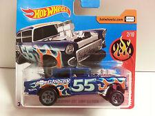 """Coche Mattel Hot Wheels DVB74 """"HW FLAMES"""" - '55 Chevy Bel Air Gasser 1/64"""