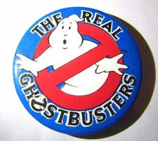 THE REAL GHOSTBUSTERS BADGE PIN! 1980s 1990s RETRO CARTOON LOGO MERCHANDISE DVD