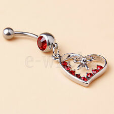 Gems Heart Bow Hollow Design Hm Belly Ring Navel Button Dangle Paved Red