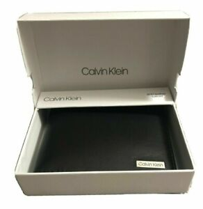 Calvin Klein Men's Genuine Leather RFID Black Bifold Wallet NWT $48.00 TB471