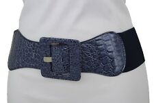 Women Navy Blue Wide Band Fashion Belt Hip High Waist Square Buckle Size XS S M