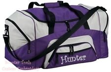 Personalized Monogrammed duffle overnight sports bag PURPLE grey black NEW!