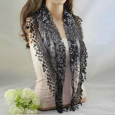 Women Lace Tassel Rose Floral Knit Mantilla Triangle Hollow Scarf Shawl Wraps J