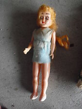 """Vintage 1950s Hard Plastic Blonde Character Girl Doll 7 1/2"""" Tall"""