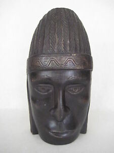 """Hand Carved African Wood At Head Figure Sculpture, 10 1/3"""" T X 5"""" W X 3.5"""" Dia"""