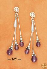 STERLING SILVER LIQUID SILVER WITH AMETHYST BALLS