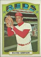 1972 Topps Baseball Wayne Simpson Cincinnati Reds High Number Card #762