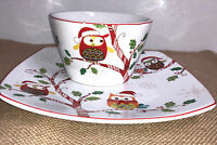222 Fifth ENCHANTED WOODS HOLIDAY CHRISTMAS Salad Plate & Soup Bowl Set-New~OWL