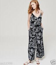 NWT ANN TAYLOR LOFT Painterly Floral Wide Leg Jumpsuit BLACK SIZE M 382663