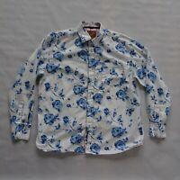 "Joe Browns Size XL White Blue Floral Long Sleeve Shirt Mens Casual 46"""