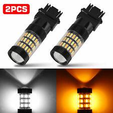 2x 3157 4157 60SMD Amber White Switchback LED Turn Signal Light Bulbs DRL Lamp