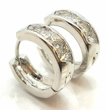 Brand New Woman Fashion  Silver White Filled Hinged Earrings Jewelry UK Post