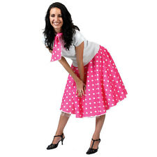 Women Girls 50s Poodle Rock N Roll Polka Dot Dance Fancy Dress Skirt+Shirt+Scarf