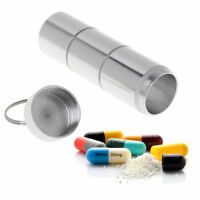 Pill Box Case Bottle Holder Alloy Waterproof Container Keychain Medicine Capsule