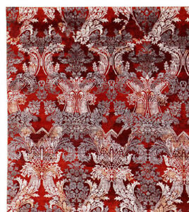 """Old Hand Knotted Parsian Red French Pattern 5'7"""" x 7'10"""" Silk & Wool Area Rugs"""