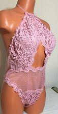 New Victoria's Secret Open Back  Large Body Fuchsia Teddy Bodysuit #2999