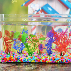 10pcs Aquarium Fish Tank Plastic Plants Decoration Ornament Plant