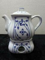 Indio Azul Inglasur Diseño Porcelana Tetera + Calentador