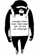Banksy Street Art laugh Now Monkey Poster Print A0-A1-A2-A3-A4-A5-A6-MAXI 016