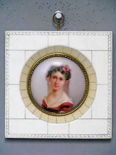Miniatur Lupen Malerei auf Porzellan im Rahmen um 1900 - 2