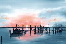 HUTCHINSON ISLAND A MAGNIFICENT SUNSET OVER THE INTERCOASTAL WATERWAY WATERCOLOR