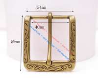 Retro Flower Carved Antique Brass Prong Pin Buckle Men Leather Belt Buckle 40mm