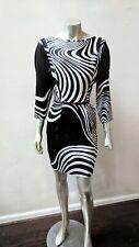 CACHE SILK BLACK AND WHITE ART DECO DOLMAN SLEEVES MOD SCOOP NECK DRESS sz 4