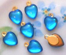 #940X Vintage Heart Charms Drops Connectors Rhinestone Hearts Dangles Sapphire