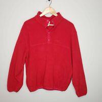 Vintage LL Bean Fleece Mens Snap T Pullover Jacket Red Made in USA Mens Medium
