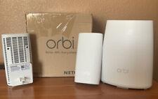 NETGEAR Orbi WiFi System Ac2200 Tri Band Network Router & 2x Wall Plug Rbk33