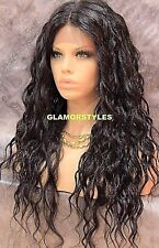 Long Spiral Curls Brown Hair Part Lace Front Full Wig Heat Ok Hair Piece #4 NWT