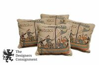4 Medieval Art Tapestry Throw Pillows Navigio Men on Boat Cotton Velvet Back 9""