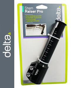 """Delta Stem Raiser PRO Black 1-1/8"""" Diameter A-Head Stem Handlebar Riser up 4.6"""""""