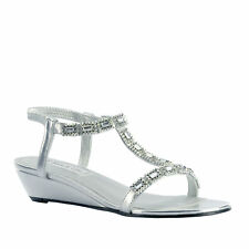 Touch UPS Jane Silver Ankle Strap Sandals Womens Size 8 M