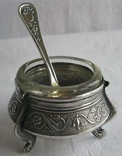 seltenes russisches Salz-Töpfchen Saliere mit Glaseinsatz und Löffel punziert