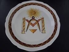 Vtg French MASONIC Symbols Faience Art Pottery Handmade Handpainted Plate 2 MINT