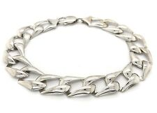 "Men's 14k White Gold Solid Chain Cuban Link Bracelet 9"" 13mm 21.1 grams"