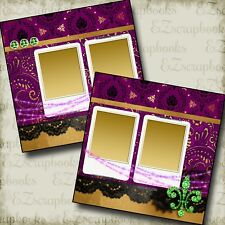 Mardi Gras Madness - 2 Premade Scrapbook Pages - Ez Layout 3338
