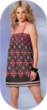 (UK 10) Small NEW CHILLI PEPPER SUMMER SMOCK TOP DRESS AZTEC & BLACK £20.00 bnwt