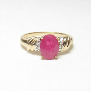 Estate 14K Yellow Gold 1.50 Ct Natural Oval Rose Red Ruby And Diamond Ring