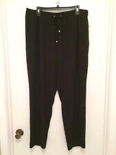Calvin Klein Women's Pull on Elastic Drawstring Waist Dress Pants Black XL
