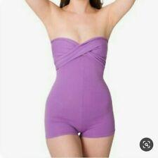 American Apparel Womens XS Spandex V Neck Halter Top Bodysuit Romper Orchid
