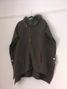 N PEAL CASHMERE FOX FUR ZIP CARDIGAN CAPE PONCHO WITH HOOD ONE SIZE