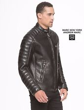 Marc New York Men's Large Faux-Leather Moto Jacket w/ Quilted Sleeves, NWT